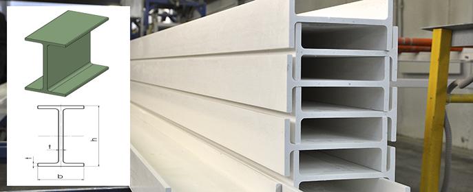 Стеклопластиковая двутавровая балка широко применяется в промышленном строительстве.