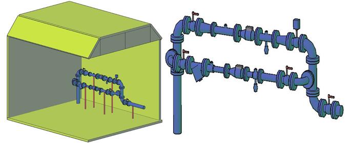 Элементы водомерного узла – тройники фланцевые, колена фланцевые, переходы фланцевые, патрубки фланцевые гладкие, могут быть выполнены как из чугуна, так и из стали.